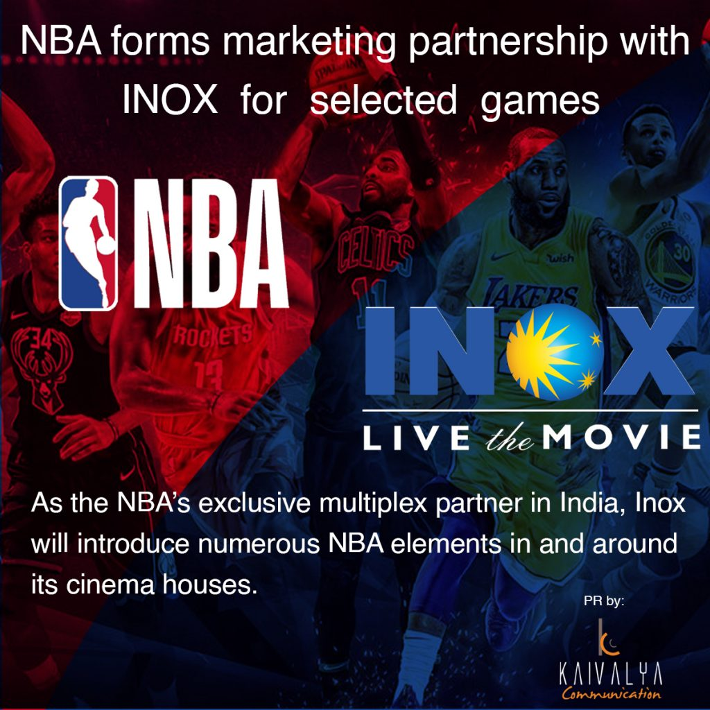 Inox Leisure partners with NBA as exclusive multiplex partner