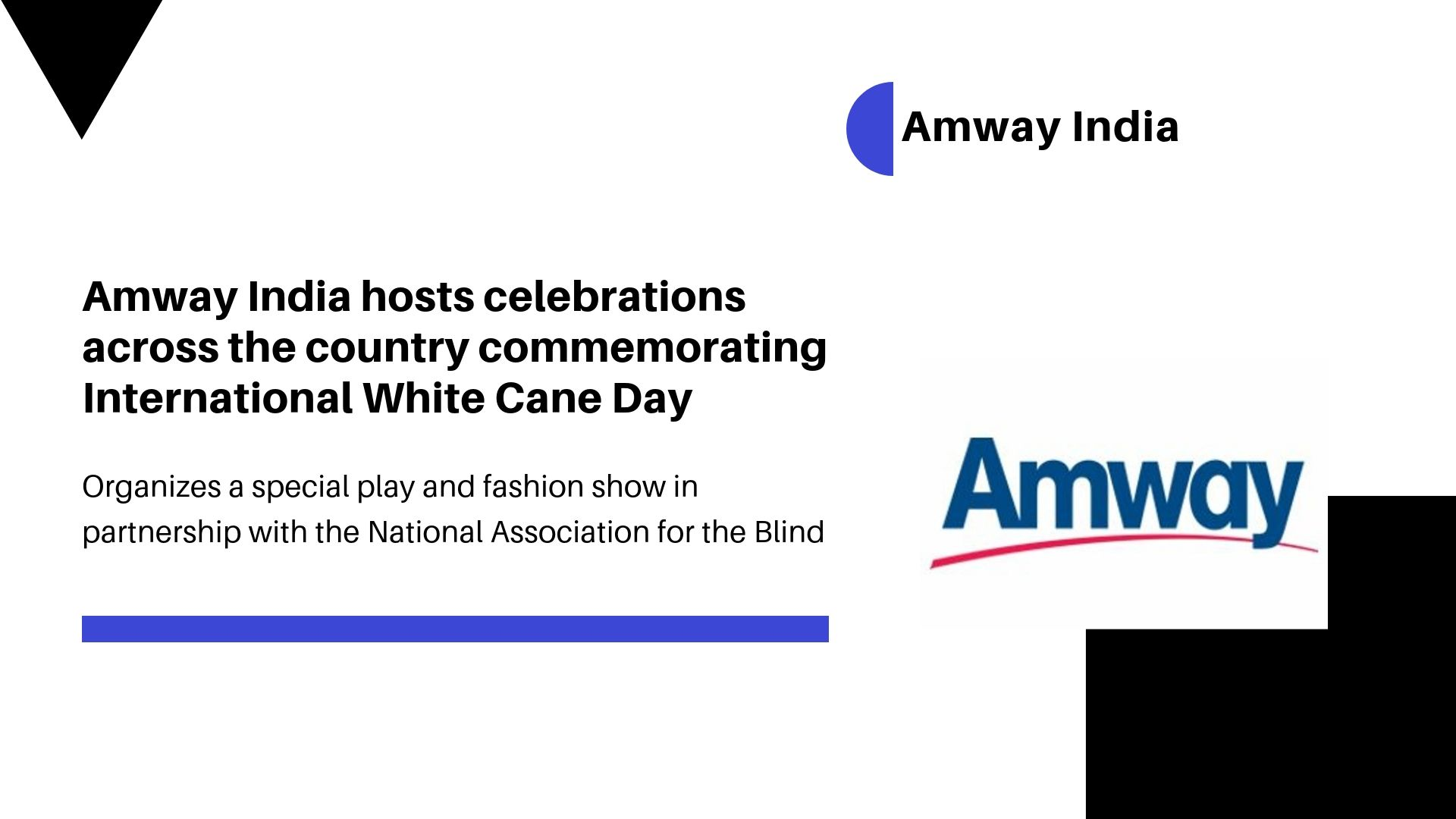 Amway India hosts celebrations across the country commemorating International White Cane Day