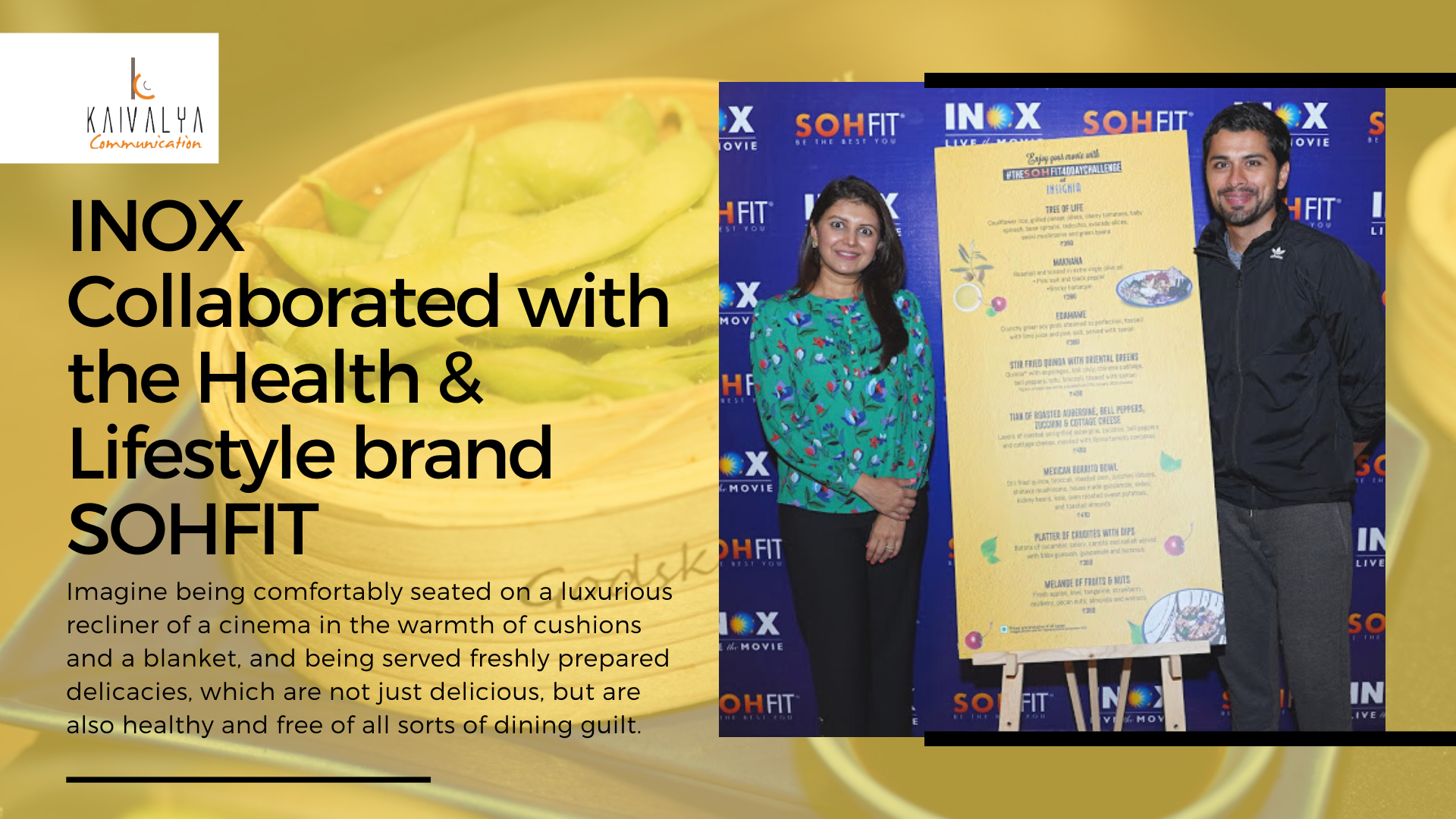 INOX Collaborated with the Health & Lifestyle brand SOHFIT